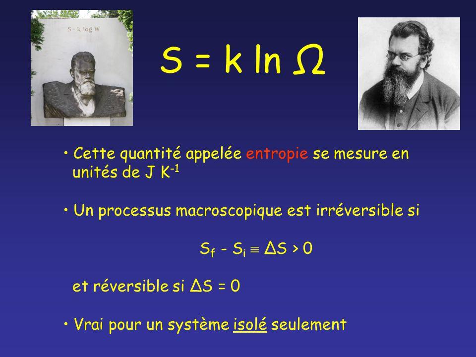 S = k ln Ω Cette quantité appelée entropie se mesure en unités de J K -1 Un processus macroscopique est irréversible si S f - S i S > 0 et réversible si S = 0 Vrai pour un système isolé seulement