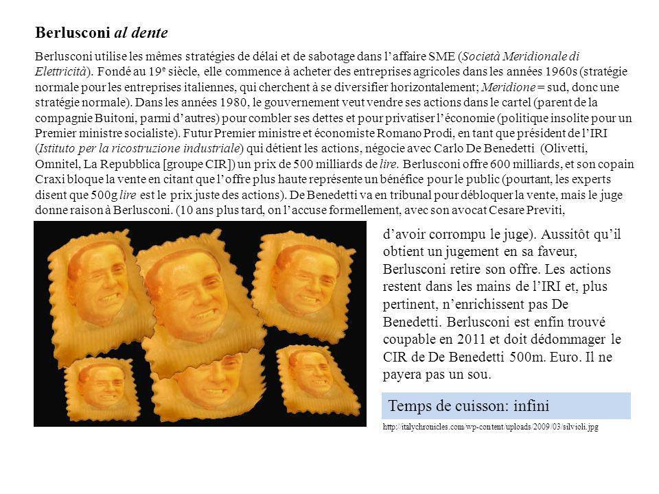 Berlusconi utilise les mêmes stratégies de délai et de sabotage dans laffaire SME (Società Meridionale di Elettricità). Fondé au 19 e siècle, elle com