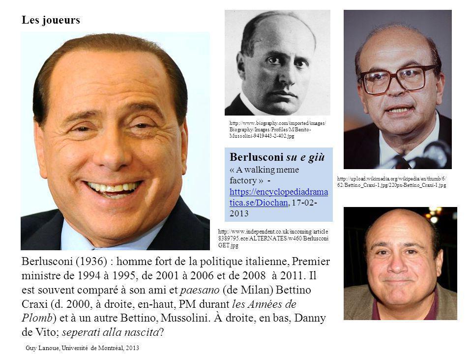 Berlusconi (1936) : homme fort de la politique italienne, Premier ministre de 1994 à 1995, de 2001 à 2006 et de 2008 à 2011. Il est souvent comparé à