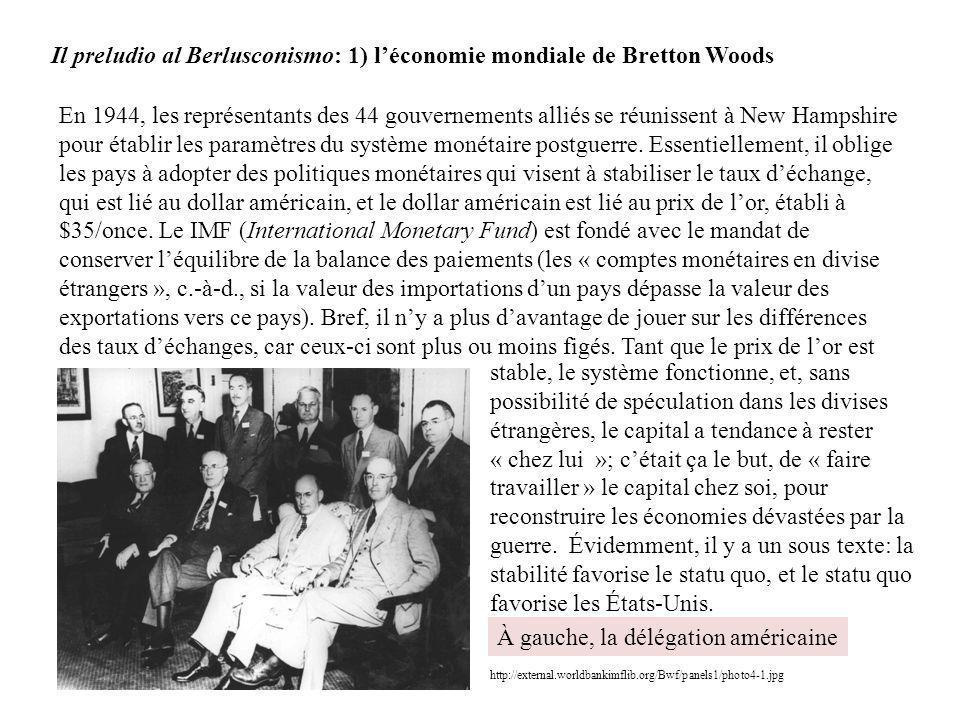 Il preludio al Berlusconismo: 1) léconomie mondiale de Bretton Woods En 1944, les représentants des 44 gouvernements alliés se réunissent à New Hampsh