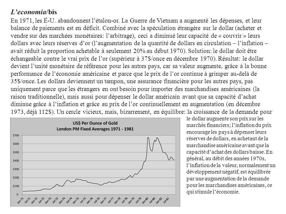 En 1971, les É-U. abandonnent létalon-or. La Guerre de Vietnam a augmenté les dépenses, et leur balance de paiements est en déficit. Combiné avec la s