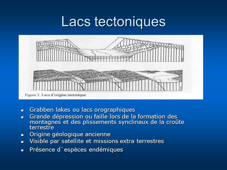 Lacs tectoniques Grabben lakes ou lacs orographiques Grabben lakes ou lacs orographiques Grande dépression ou faille lors de la formation des montagne