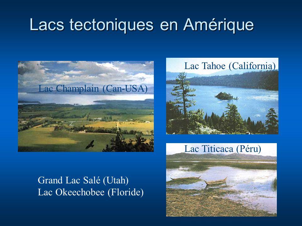 Lacs tectoniques en Amérique Lac Champlain (Can-USA) Lac Tahoe (California) Lac Titicaca (Péru) Grand Lac Salé (Utah) Lac Okeechobee (Floride)