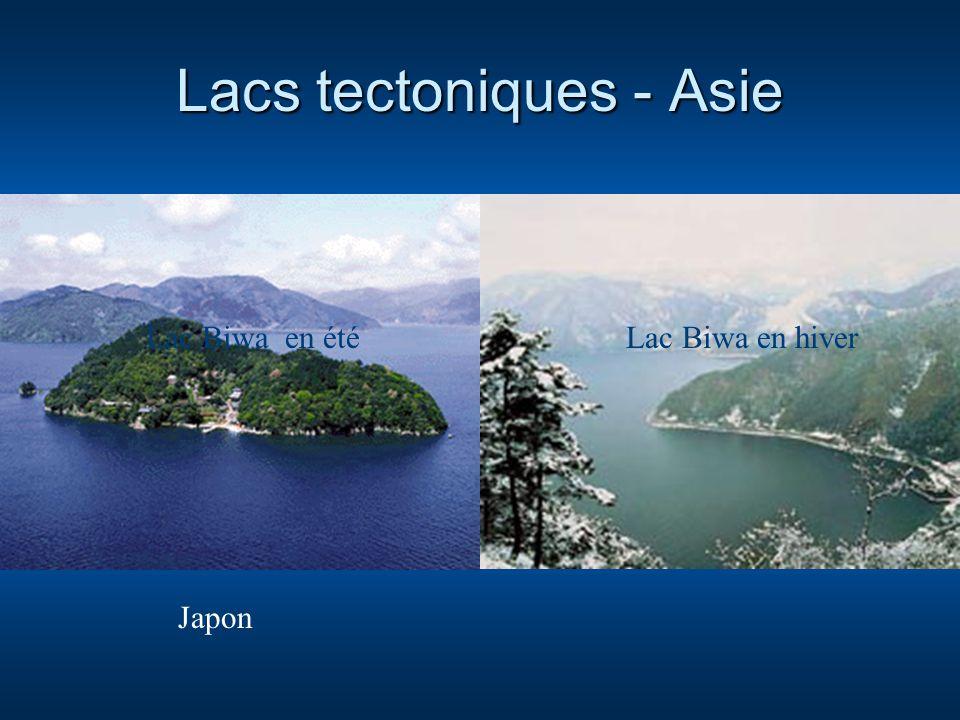 Lacs tectoniques - Asie Lac Biwa en étéLac Biwa en hiver Japon