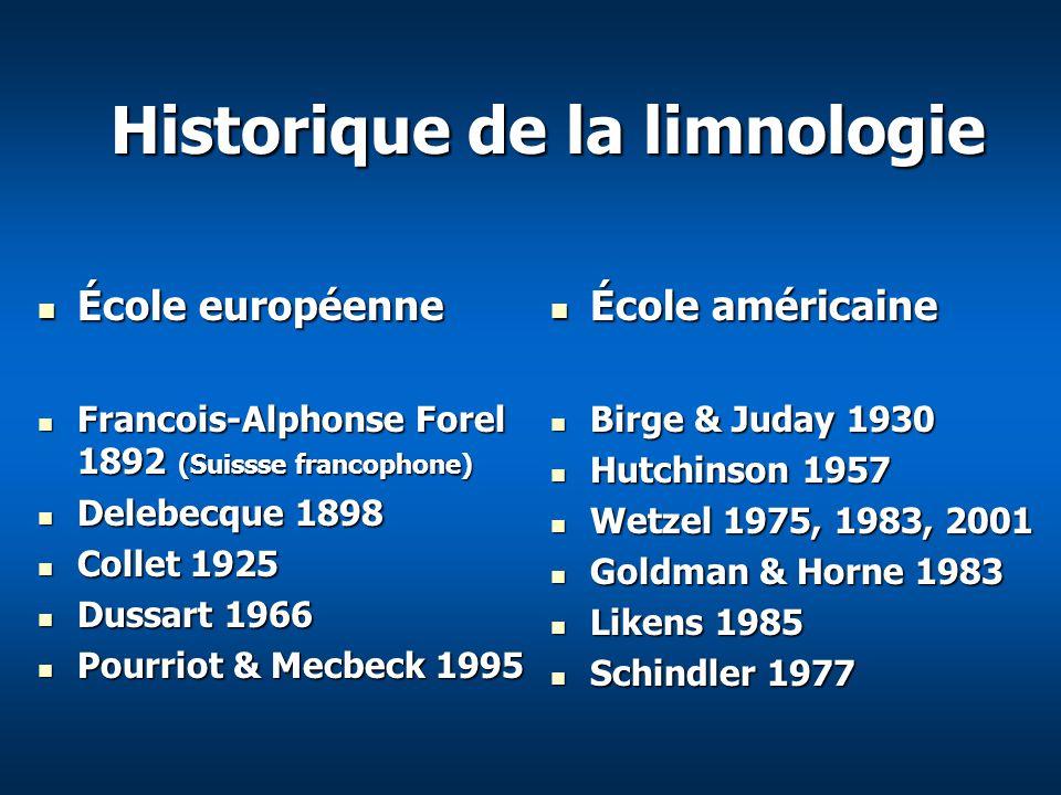 Historique de la limnologie École européenne École européenne Francois-Alphonse Forel 1892 (Suissse francophone) Francois-Alphonse Forel 1892 (Suissse