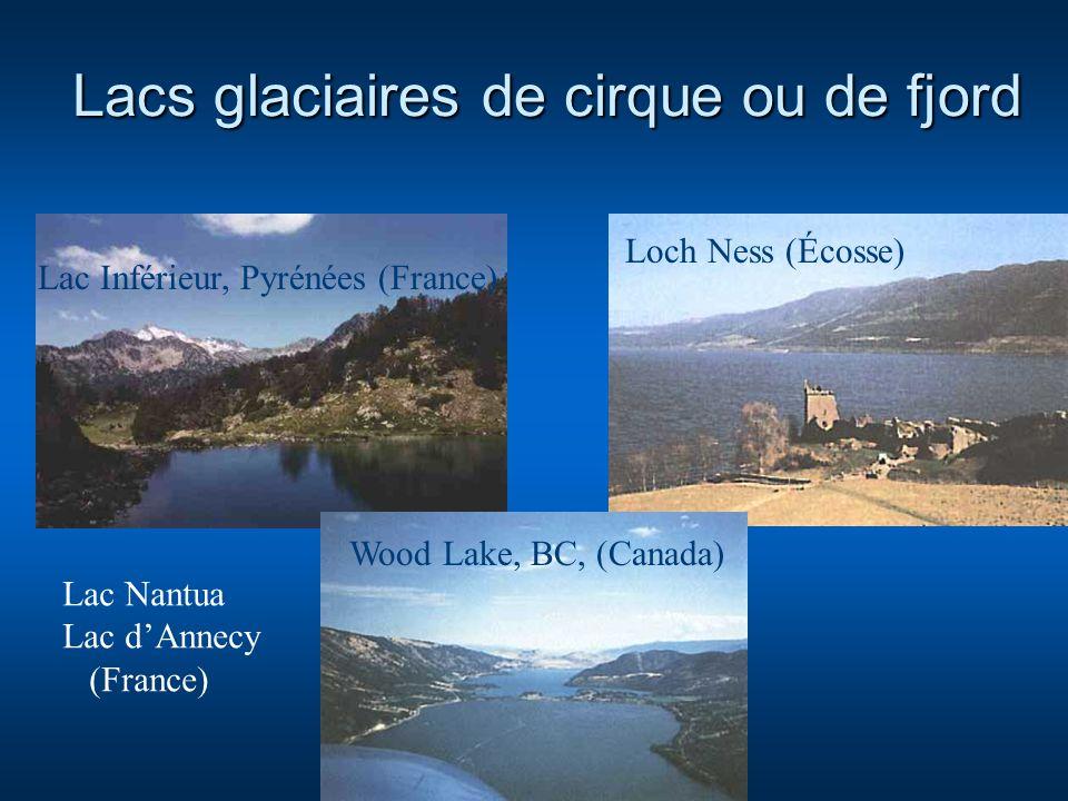 Lacs glaciaires de cirque ou de fjord Lac Inférieur, Pyrénées (France) Loch Ness (Écosse) Wood Lake, BC, (Canada) Lac Nantua Lac dAnnecy (France)