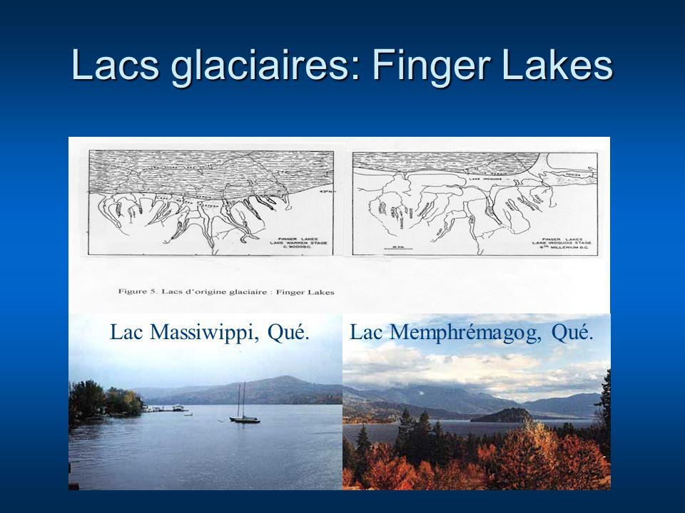 Lacs glaciaires: Finger Lakes Lac Massiwippi, Qué.Lac Memphrémagog, Qué.
