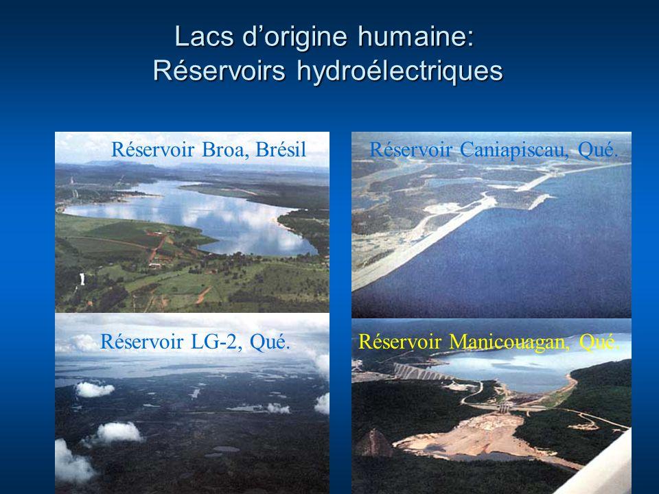 Lacs dorigine humaine: Réservoirs hydroélectriques Réservoir Broa, BrésilRéservoir Caniapiscau, Qué. Réservoir Manicouagan, Qué.Réservoir LG-2, Qué.