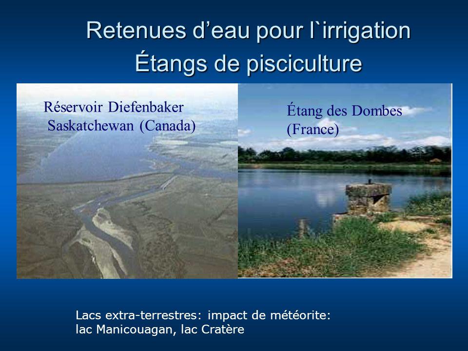 Retenues deau pour l`irrigation Étangs de pisciculture Réservoir Diefenbaker Saskatchewan (Canada) Étang des Dombes (France) Lacs extra-terrestres: im