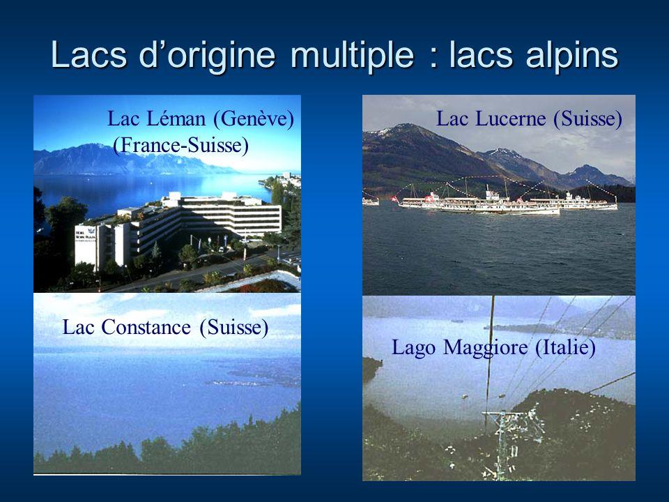 Lacs dorigine multiple : lacs alpins Lac Léman (Genève) (France-Suisse) Lac Lucerne (Suisse) Lago Maggiore (Italie) Lac Constance (Suisse)