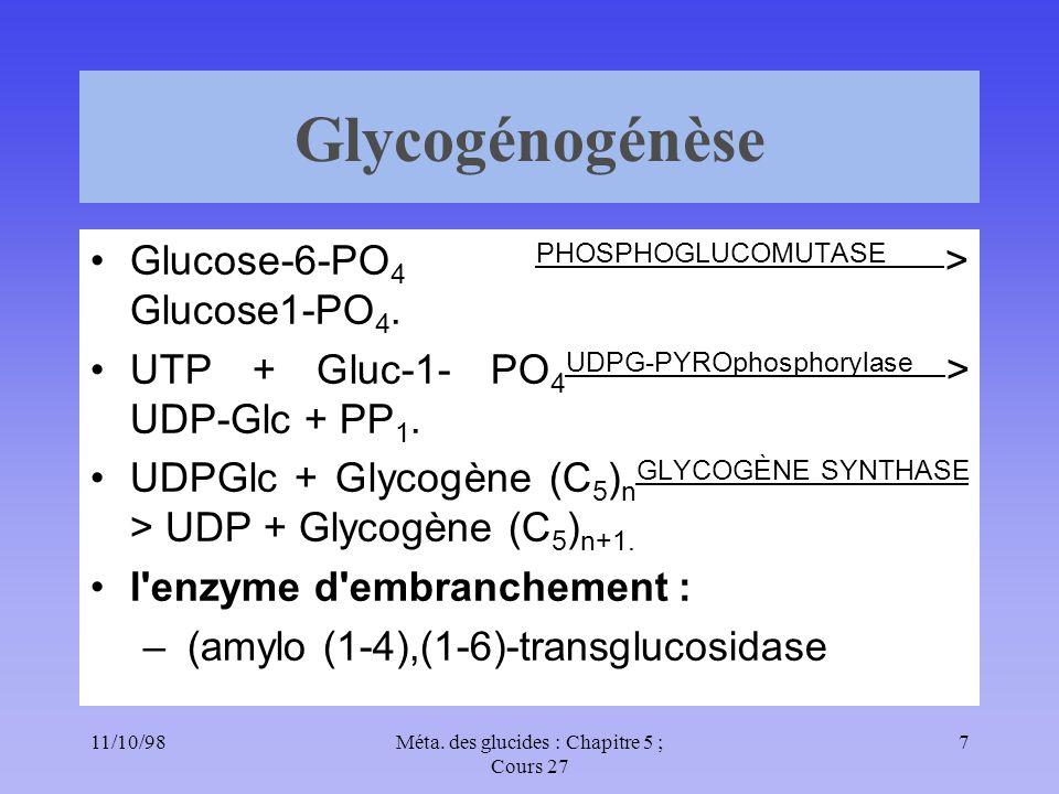 11/10/987Méta. des glucides : Chapitre 5 ; Cours 27 Glycogénogénèse Glucose-6-PO 4 PHOSPHOGLUCOMUTASE > Glucose1-PO 4. UTP + Gluc-1- PO 4 UDPG-PYROpho