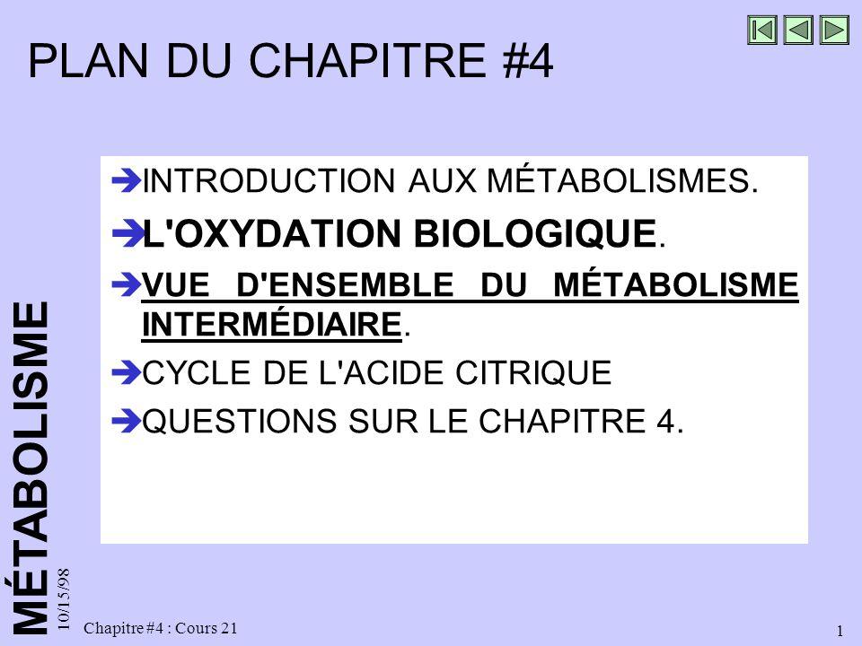 MÉTABOLISME 10/15/98 1 Chapitre #4 : Cours 21 PLAN DU CHAPITRE #4 INTRODUCTION AUX MÉTABOLISMES. L'OXYDATION BIOLOGIQUE. VUE D'ENSEMBLE DU MÉTABOLISME