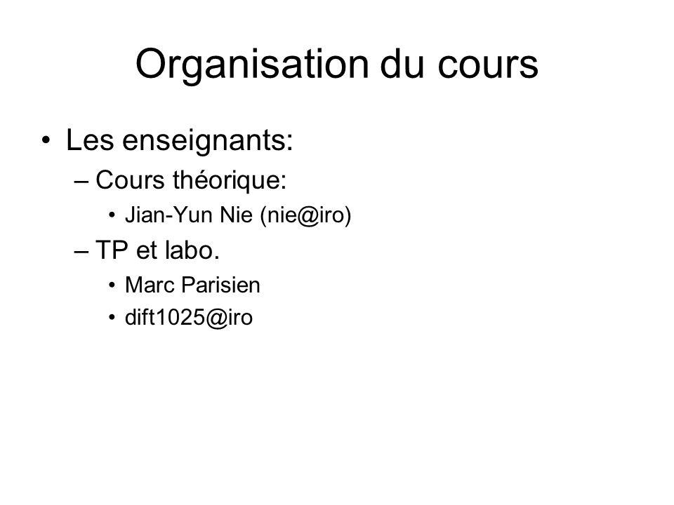 Organisation du cours Les enseignants: –Cours théorique: Jian-Yun Nie (nie@iro) –TP et labo. Marc Parisien dift1025@iro