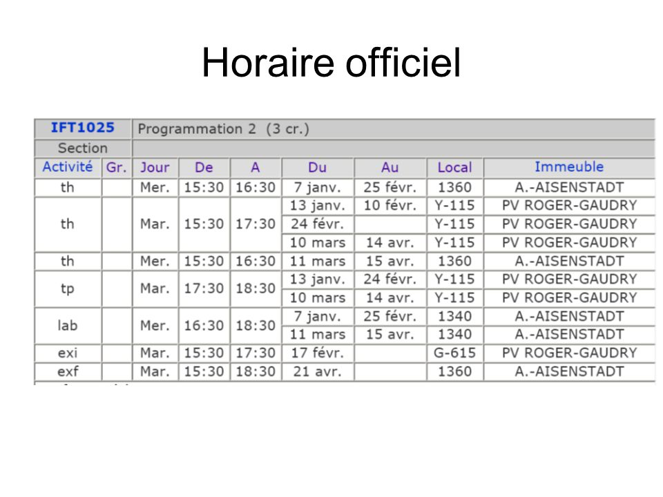 Horaire officiel