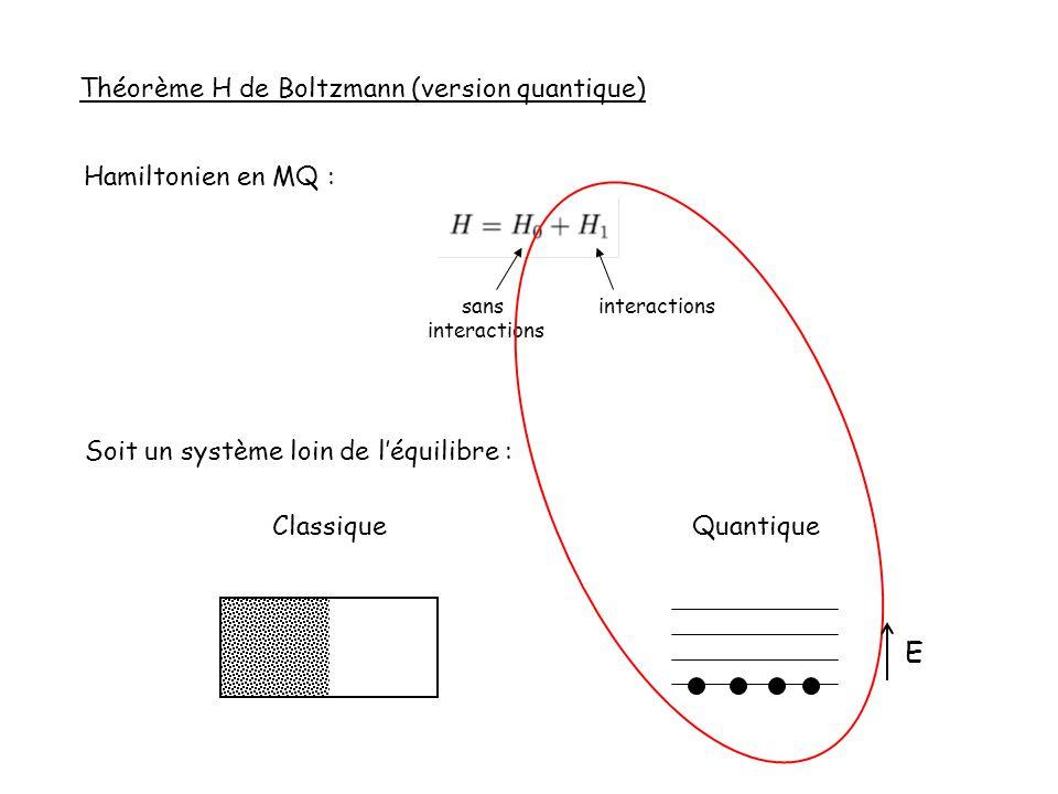 Théorème H de Boltzmann (version quantique) Hamiltonien en MQ : sans interactions Soit un système loin de léquilibre : Classique Quantique E