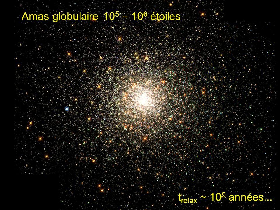 t relax ~ 10 9 années... Amas globulaire 10 5 – 10 6 étoiles