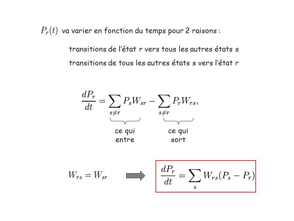 va varier en fonction du temps pour 2 raisons : transitions de létat r vers tous les autres états s transitions de tous les autres états s vers létat