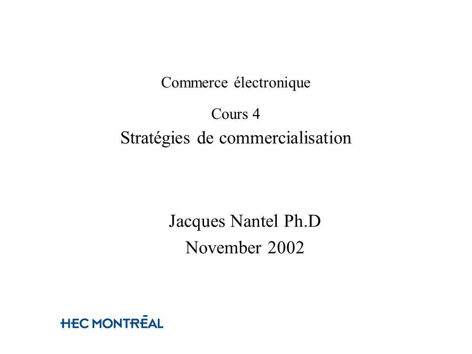 Commerce électronique Cours 4 Stratégies de commercialisation Jacques Nantel Ph.D November 2002