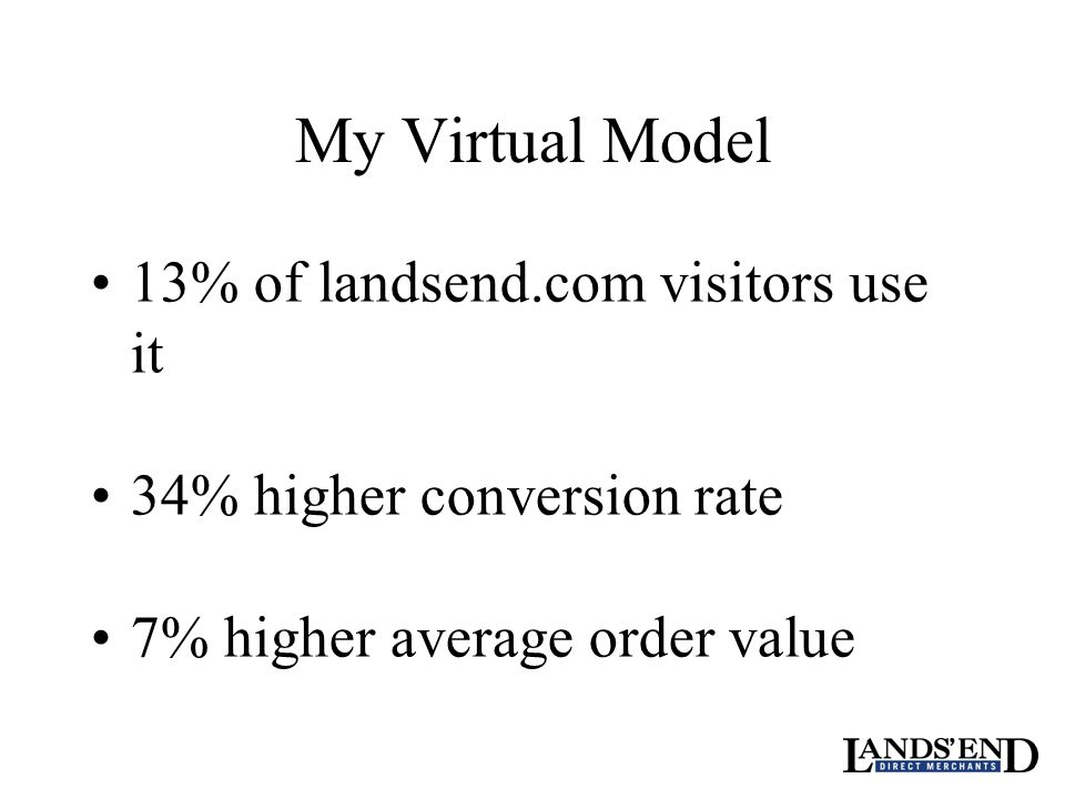My Virtual Model 13% of landsend.com visitors use it 34% higher conversion rate 7% higher average order value