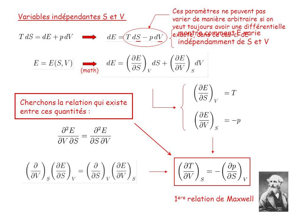 Variables indépendantes S et V (math) montre comment E varie indépendamment de S et V Ces paramètres ne peuvent pas varier de manière arbitraire si on