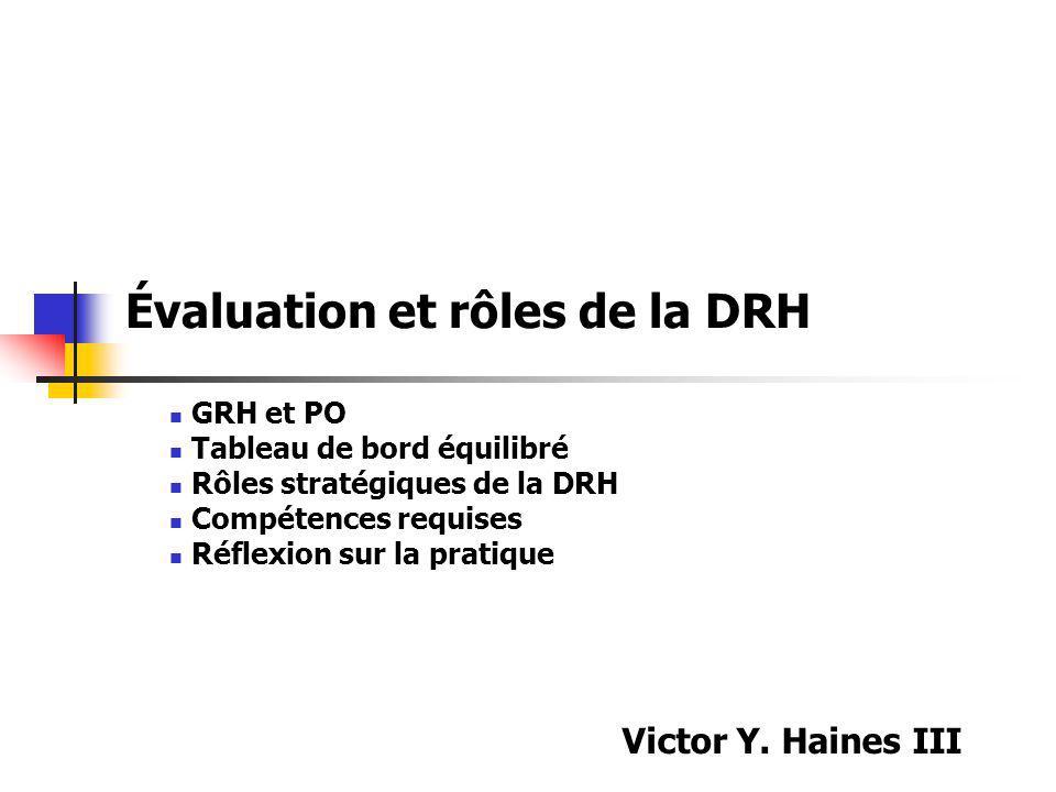 Évaluation et rôles de la DRH GRH et PO Tableau de bord équilibré Rôles stratégiques de la DRH Compétences requises Réflexion sur la pratique Victor Y
