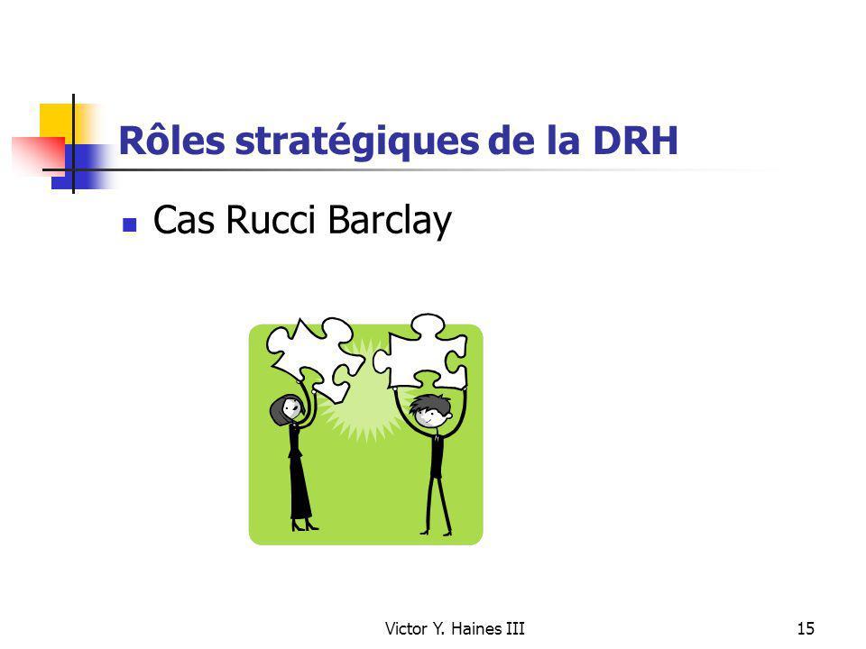 Victor Y. Haines III15 Rôles stratégiques de la DRH Cas Rucci Barclay