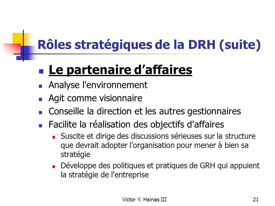 Victor Y. Haines III21 Rôles stratégiques de la DRH (suite) Le partenaire daffaires Analyse l'environnement Agit comme visionnaire Conseille la direct