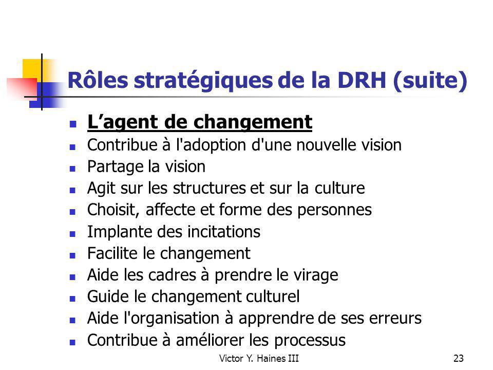 Victor Y. Haines III23 Rôles stratégiques de la DRH (suite) Lagent de changement Contribue à l'adoption d'une nouvelle vision Partage la vision Agit s