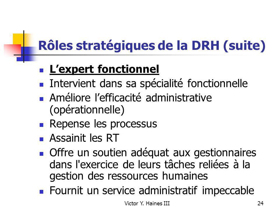 Victor Y. Haines III24 Rôles stratégiques de la DRH (suite) Lexpert fonctionnel Intervient dans sa spécialité fonctionnelle Améliore lefficacité admin