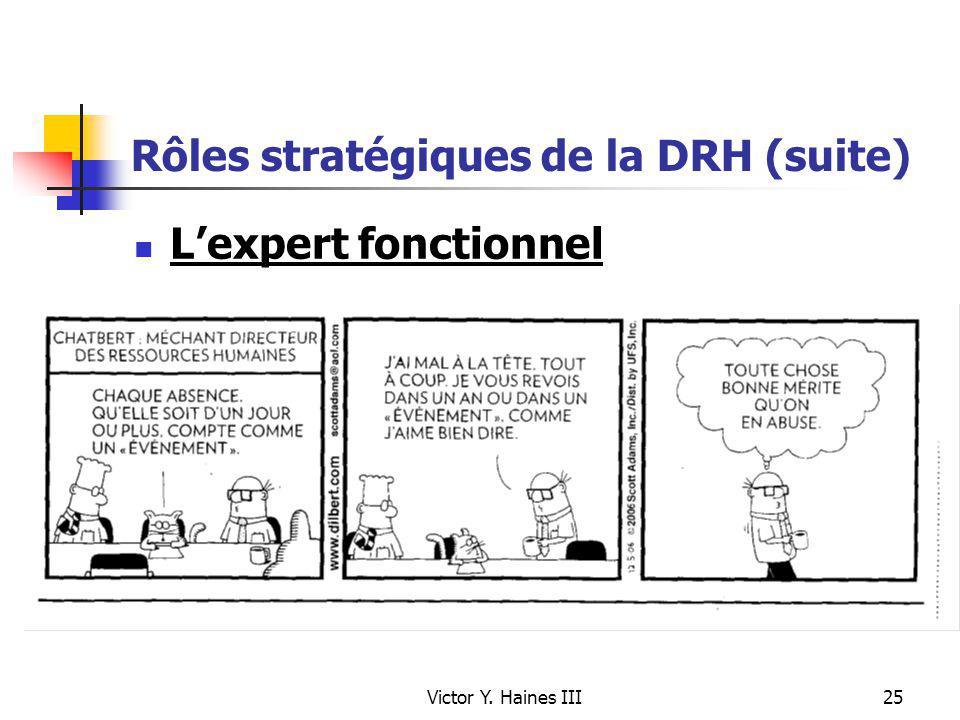 Victor Y. Haines III25 Rôles stratégiques de la DRH (suite) Lexpert fonctionnel