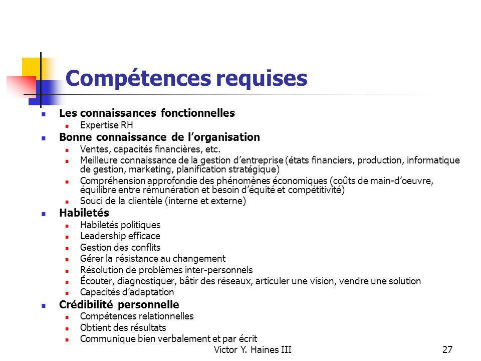 Victor Y. Haines III27 Compétences requises Les connaissances fonctionnelles Expertise RH Bonne connaissance de lorganisation Ventes, capacités financ
