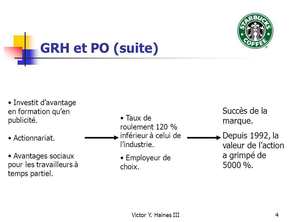 Victor Y. Haines III4 GRH et PO (suite) Taux de roulement 120 % inférieur à celui de lindustrie. Employeur de choix. Investit davantage en formation q