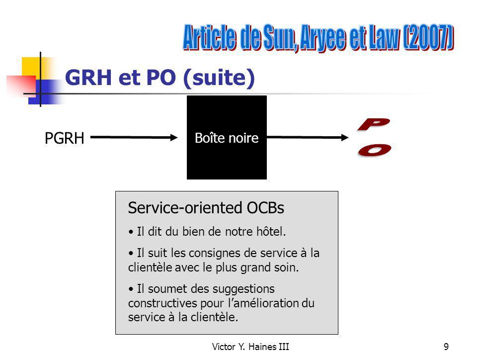 Victor Y. Haines III9 GRH et PO (suite) PGRH Boîte noire Service-oriented OCBs Il dit du bien de notre hôtel. Il suit les consignes de service à la cl