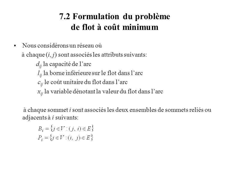 7.2 Formulation du problème de flot à coût minimum Nous considérons un réseau où à chaque (i, j) sont associés les attributs suivants: d ij la capacit