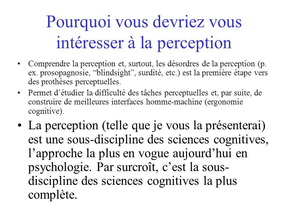 Pourquoi vous devriez vous intéresser à la perception Comprendre la perception et, surtout, les désordres de la perception (p. ex. prosopagnosie, blin