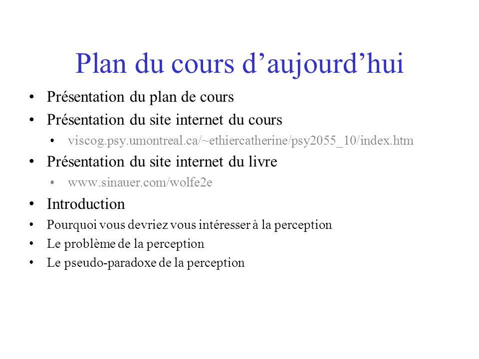 Plan du cours daujourdhui Présentation du plan de cours Présentation du site internet du cours viscog.psy.umontreal.ca/~ethiercatherine/psy2055_10/ind