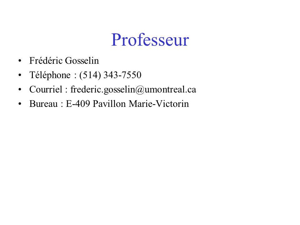 Professeur Frédéric Gosselin Téléphone : (514) 343-7550 Courriel : frederic.gosselin@umontreal.ca Bureau : E-409 Pavillon Marie-Victorin