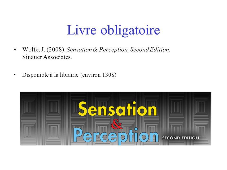 Horaire 07/09/10Introduction à la perception 14/09/10Les premières étapes de la vision 21/09/10Vision spatiale 28/09/10Percevoir et reconnaître les objets 05/10/10Perception de la couleur 12/10/10Révision de la matière en classe 19/10/10Examen intra 02/11/10Perception de lespace et vision binoculaire 09/11/10Perception du mouvement 16/11/10Attention visuelle, mouvements oculaires et perception des scènes 23/11/10Audition : physiologie et psychoacoustique 30/11/10Audition : Environnement, musique et parole 07/12/10Conscience perceptive et révision de la matière en classe 14/12/10Examen final et remise du travail optionnel