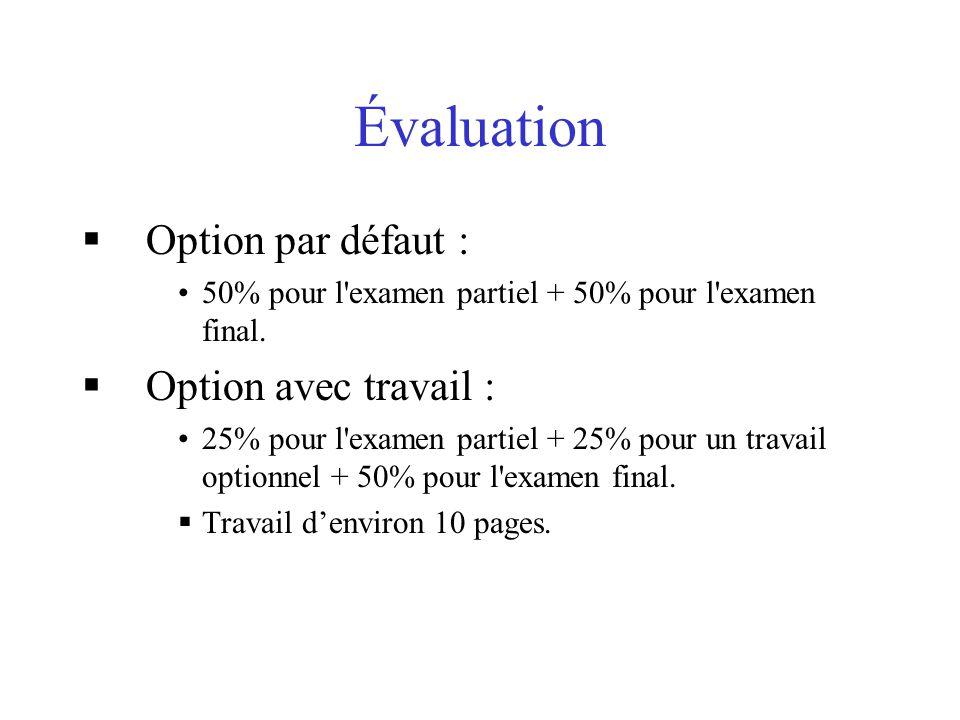 Évaluation Option par défaut : 50% pour l'examen partiel + 50% pour l'examen final. Option avec travail : 25% pour l'examen partiel + 25% pour un trav