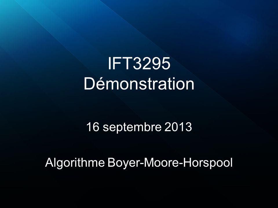 Boyer-Moore-Horspool (2 car.) Pré-traitement pour 2 caractères : –Mot : aabcaab (taille de 7) 76543210 (position droite/gauche) –Alphabet : {a, b, c} car2 car1 abc a25 b4 c3 aa a déjà été vu