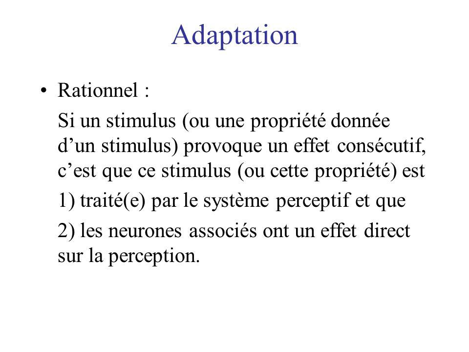 Adaptation Rationnel : Si un stimulus (ou une propriété donnée dun stimulus) provoque un effet consécutif, cest que ce stimulus (ou cette propriété) e
