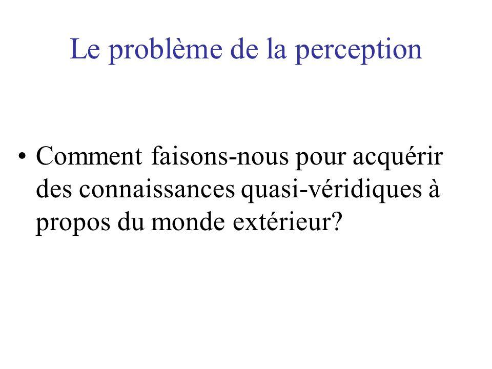Le problème de la perception Comment faisons-nous pour acquérir des connaissances quasi-véridiques à propos du monde extérieur?