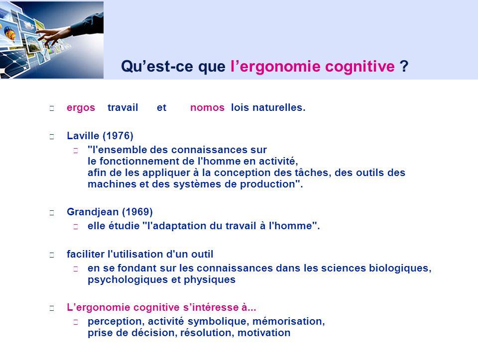 Aujourdhui Ergonomie cognitive ? Utilisabilité Modèle de laction et des interfaces (Norman 1986) Traitement Humain de linformation Systèmes faciles et