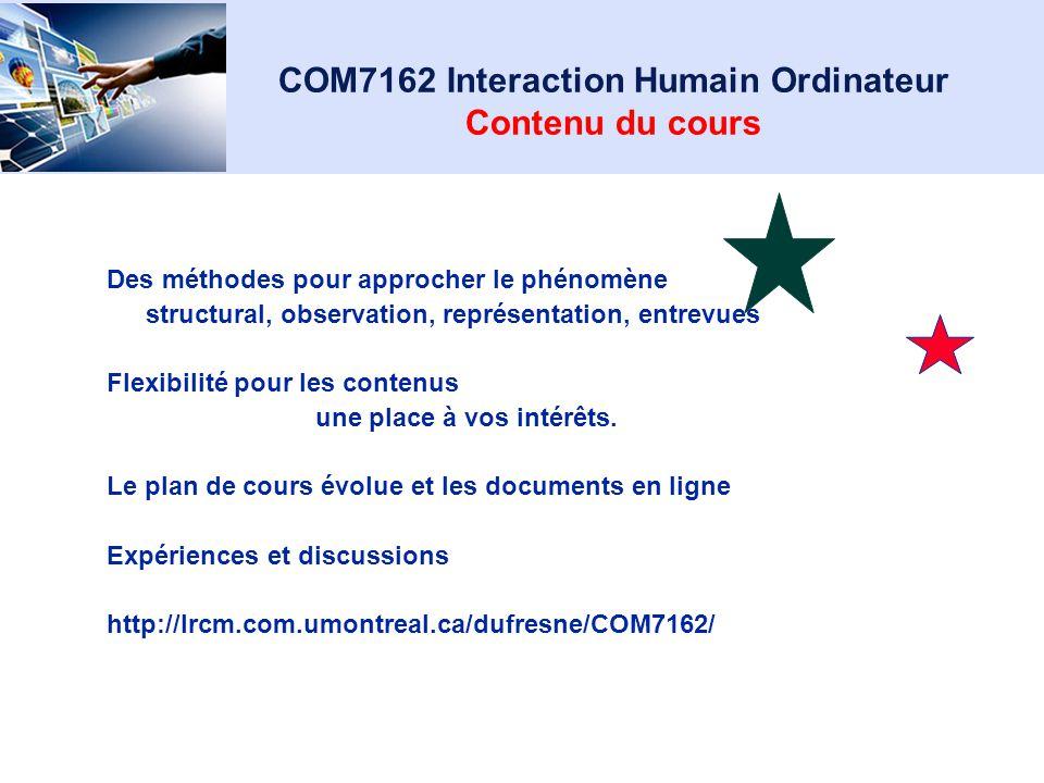 COM7162 Interaction Humain Ordinateur Ergonomie, Utilisabilité, théories de laction Interactions Humain-Ordinateur Interfaces Jeux Interactions intell