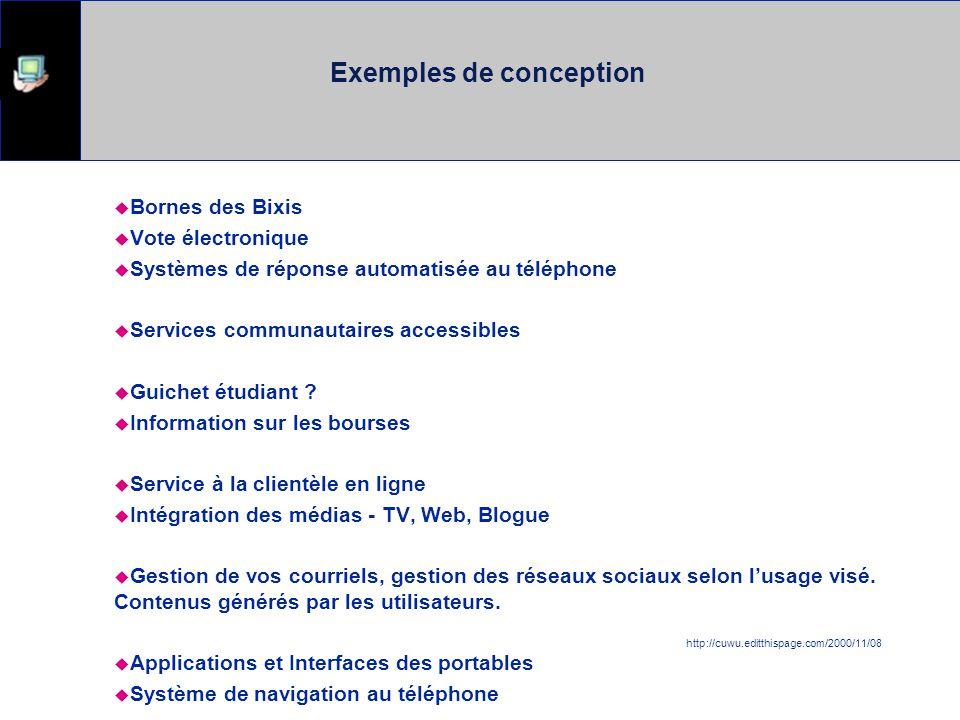 Exemples de conception Bornes des Bixis Vote électronique Systèmes de réponse automatisée au téléphone Services communautaires accessibles Guichet étudiant .