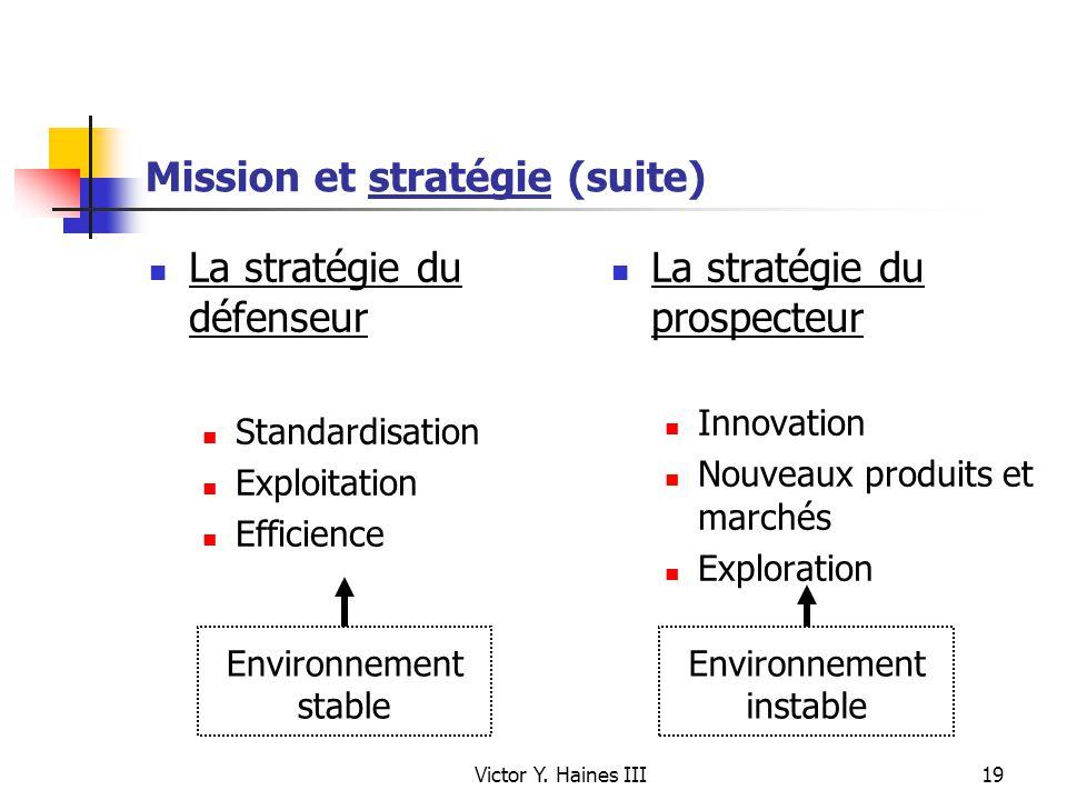 Victor Y. Haines III19 Mission et stratégie (suite) La stratégie du défenseur Standardisation Exploitation Efficience La stratégie du prospecteur Inno