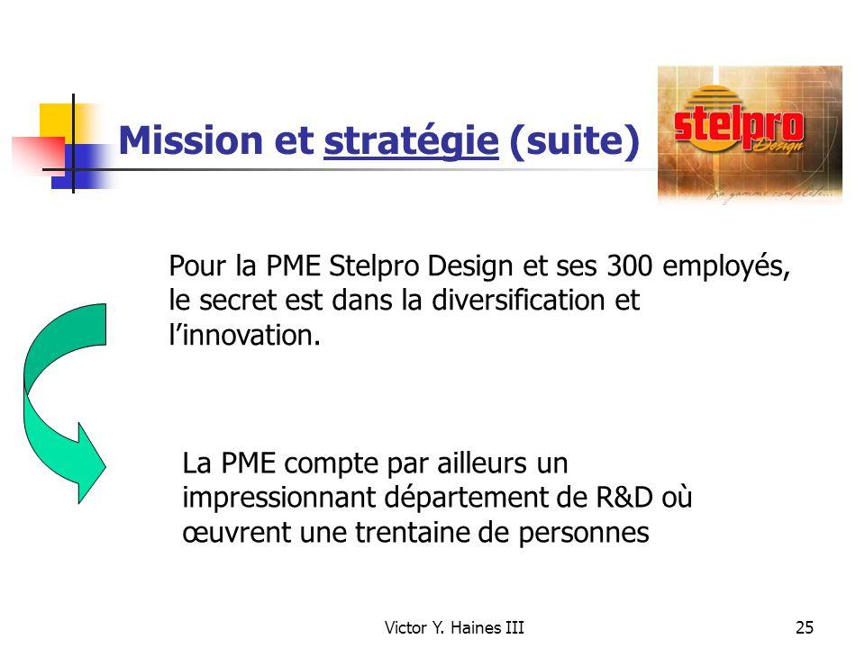 Victor Y. Haines III25 Mission et stratégie (suite) Pour la PME Stelpro Design et ses 300 employés, le secret est dans la diversification et linnovati