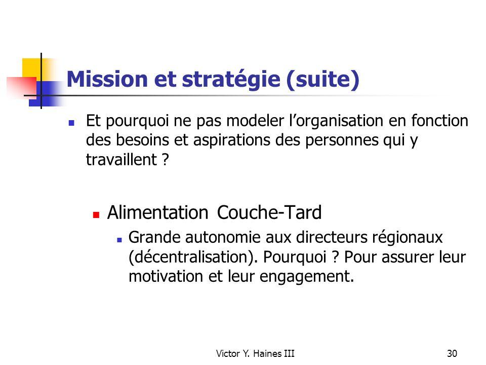 Victor Y. Haines III30 Mission et stratégie (suite) Et pourquoi ne pas modeler lorganisation en fonction des besoins et aspirations des personnes qui