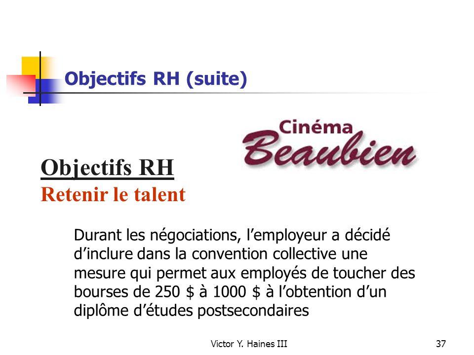 Victor Y. Haines III37 Objectifs RH (suite) Objectifs RH Retenir le talent Durant les négociations, lemployeur a décidé dinclure dans la convention co