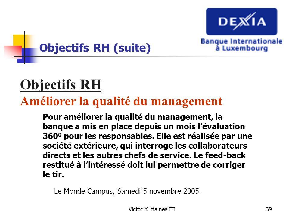 Victor Y. Haines III39 Objectifs RH (suite) Objectifs RH Améliorer la qualité du management Pour améliorer la qualité du management, la banque a mis e